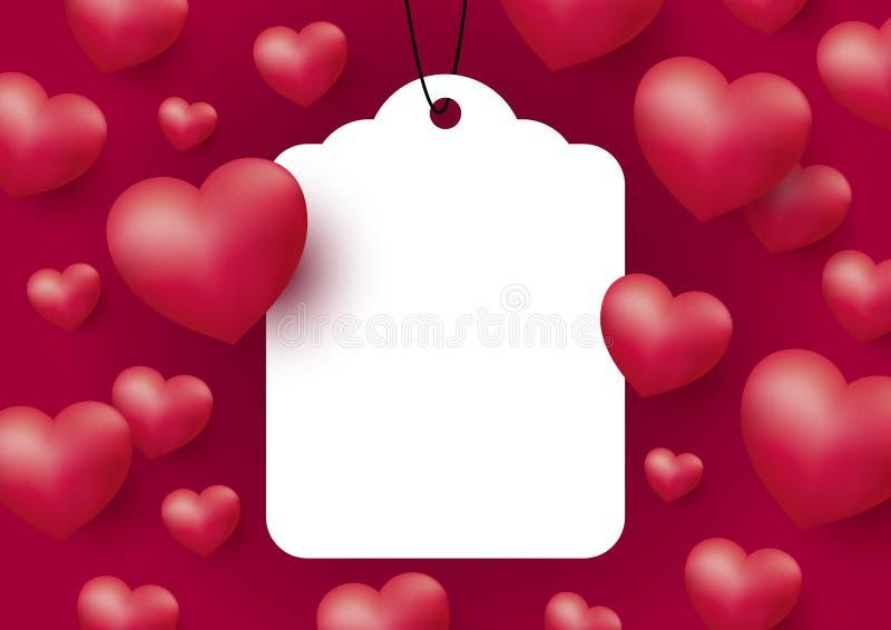 Coeurs avec l'étiquette blanche vide sur le fond rouge pour le jour et le mariage de mère des femmes de Valentine illustration libre de droits
