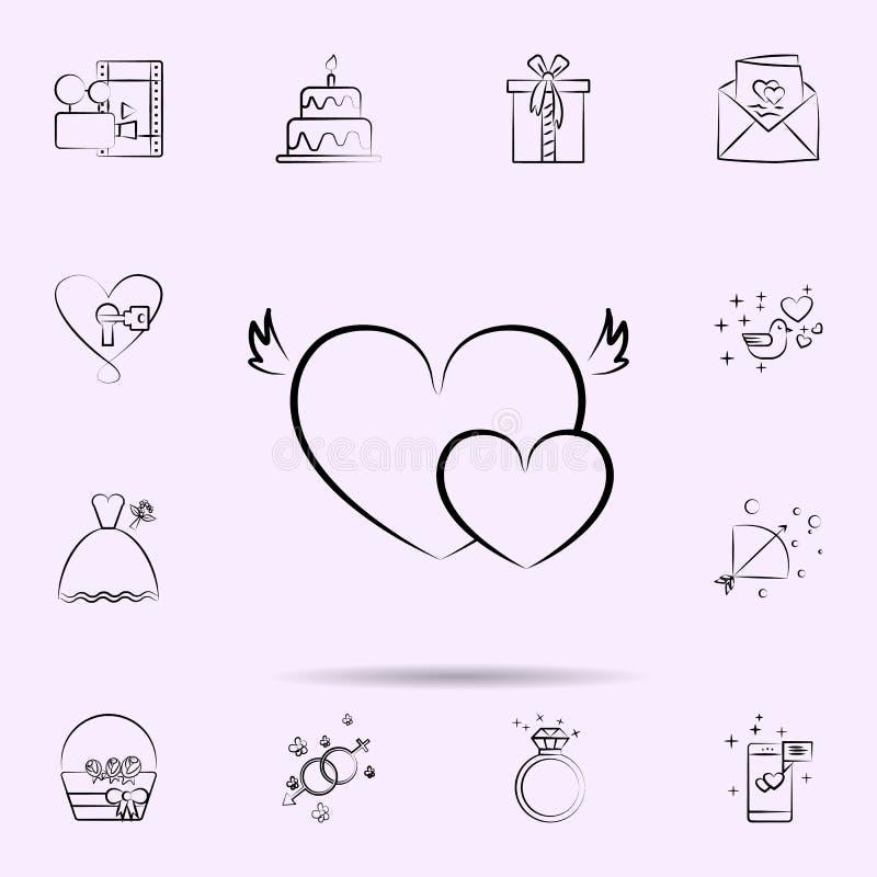 Coeurs avec l'icône d'ailes E illustration stock