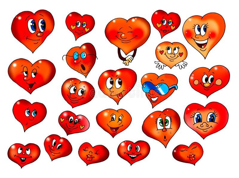 Coeurs avec l'imitation différente illustration de vecteur
