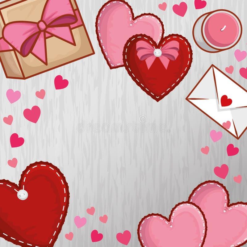 Coeurs avec la carte actuelle de cadeau et d'amour au jour de valentines illustration stock