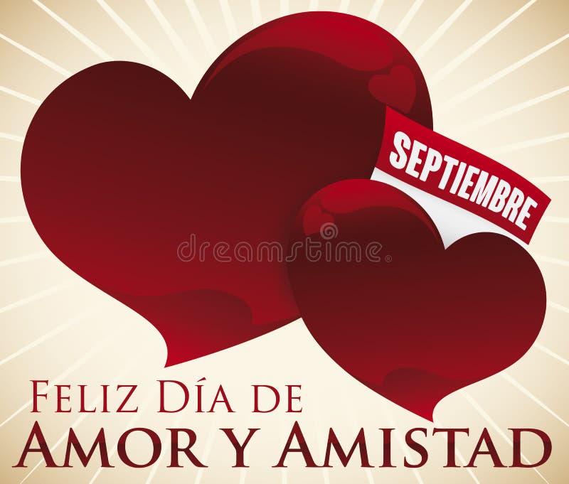 Coeurs avec le calendrier à feuilles mobiles pour le jour de l'amour et de l'amitié, illustration de vecteur illustration stock