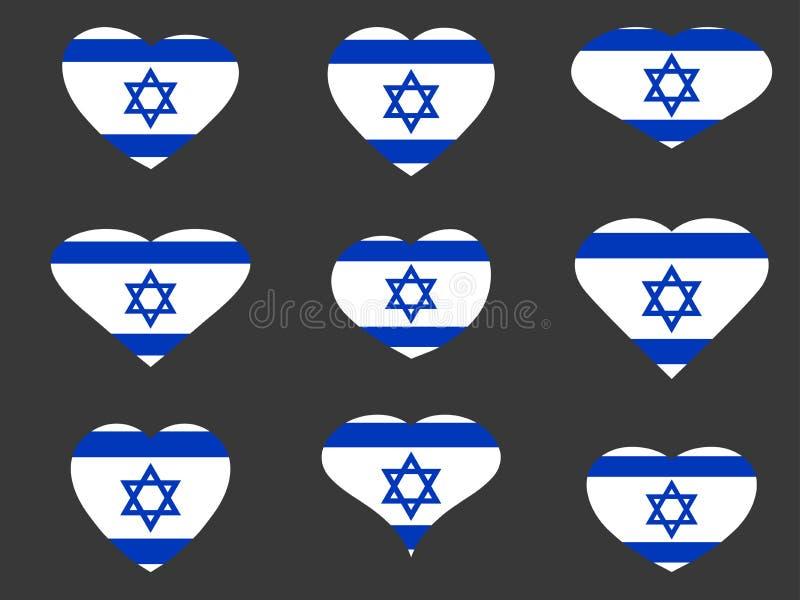 Coeurs avec le drapeau israélien J'aime l'Israël Ensemble d'icône de drapeau de l'Israël Vecteur illustration de vecteur