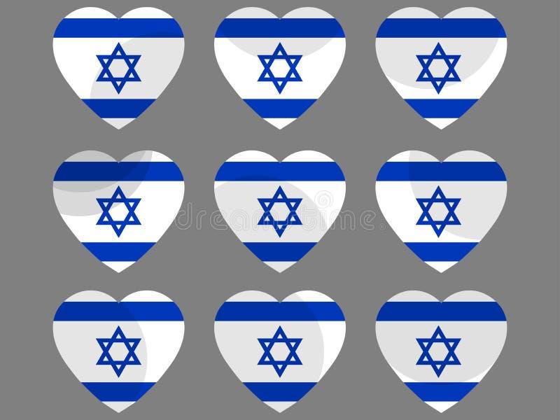 Coeurs avec le drapeau israélien J'aime l'Israël Ensemble d'icône de drapeau de l'Israël Vecteur illustration libre de droits