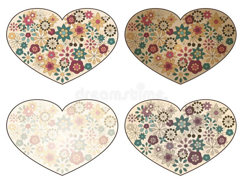 Coeurs avec les configurations florales de source illustration libre de droits