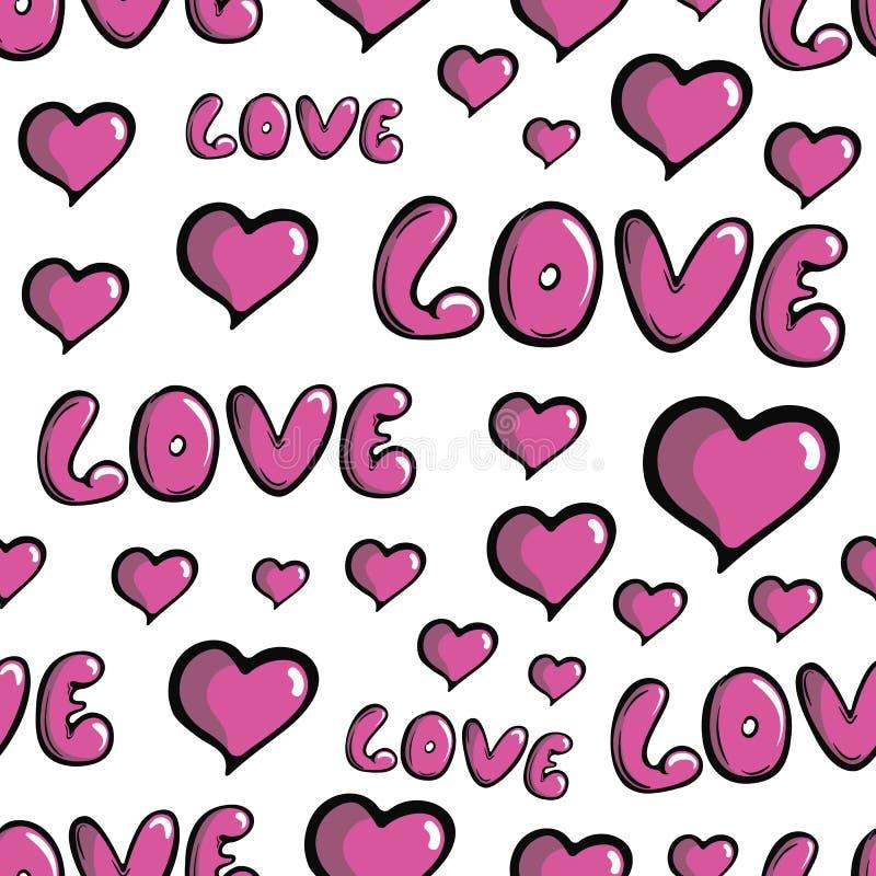 Coeurs blancs d'amour de modèle sans couture illustration de vecteur
