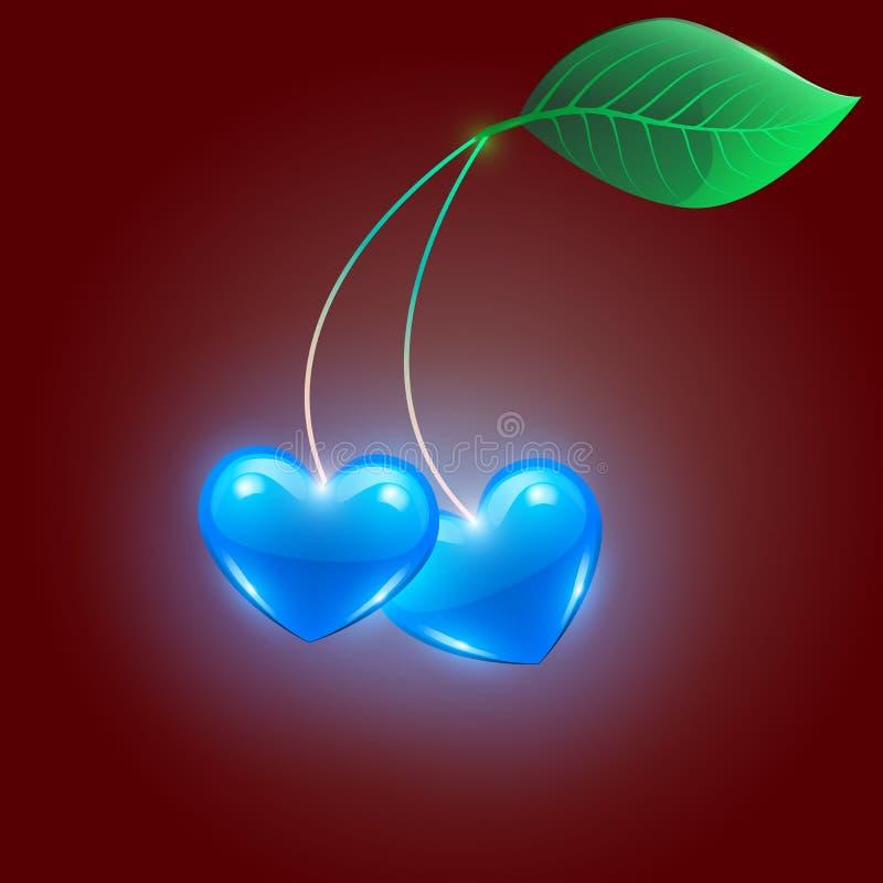 Coeurs bleus sur un fond rouge illustration stock