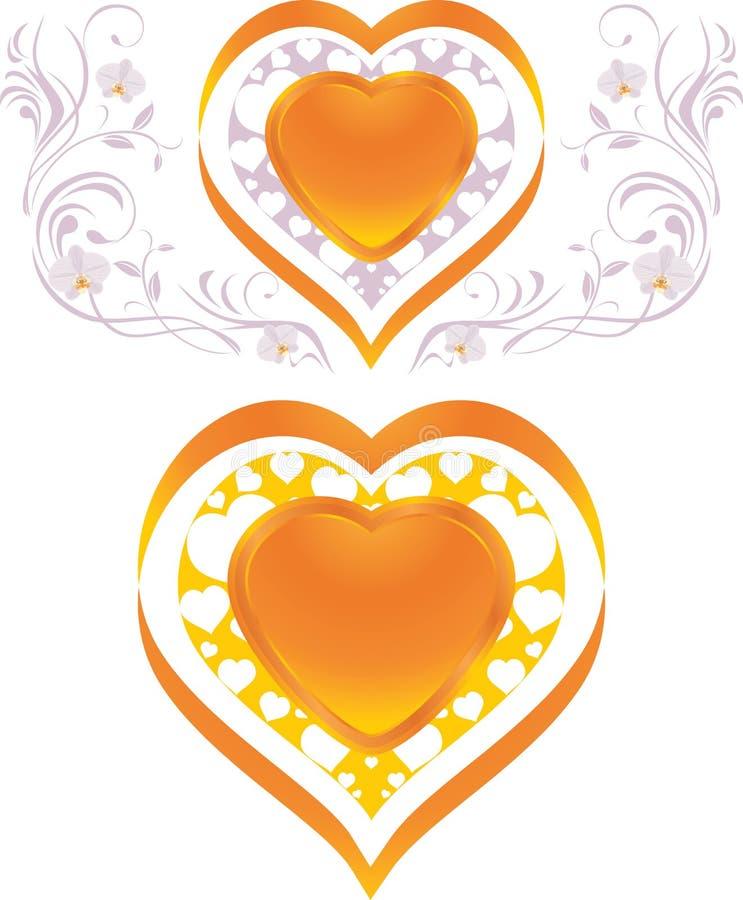 Coeurs brillants élégants. Éléments décoratifs au illustration de vecteur