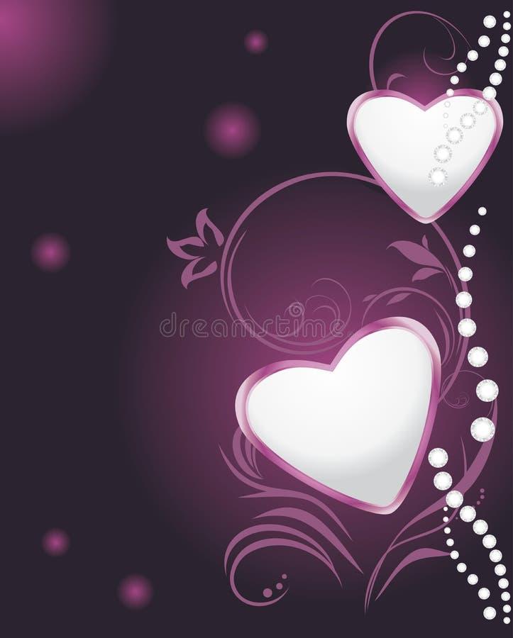 Coeurs brillants sur le fond décoratif illustration stock