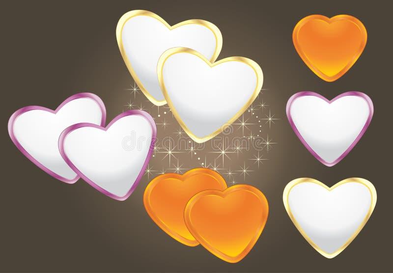 Coeurs brillants sur le fond de brun foncé illustration de vecteur