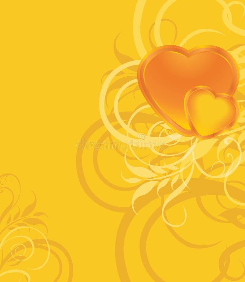 Coeurs brillants sur le fond ornemental illustration stock