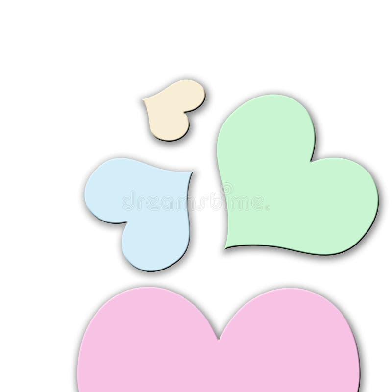 Coeurs colorés en pastel illustration de vecteur