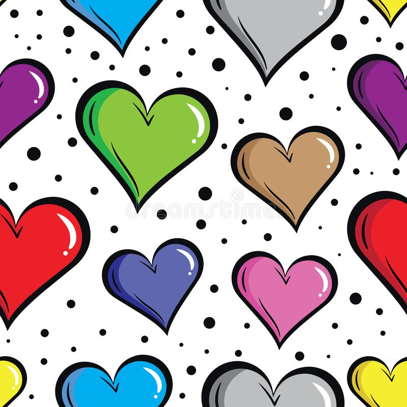 Coeurs colorés sans couture sur le blanc illustration libre de droits