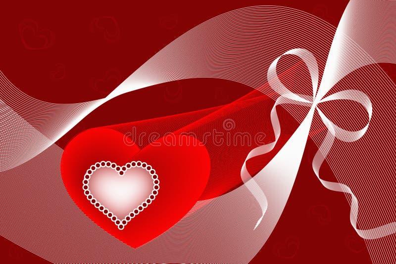 Coeurs, courbes et rubans rouges d'amour illustration de vecteur