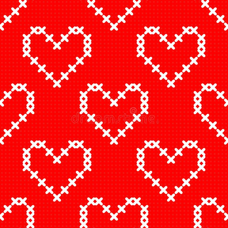 Coeurs croisés mignons simples blancs de point sur le modèle sans couture de toile rouge, vecteur illustration libre de droits