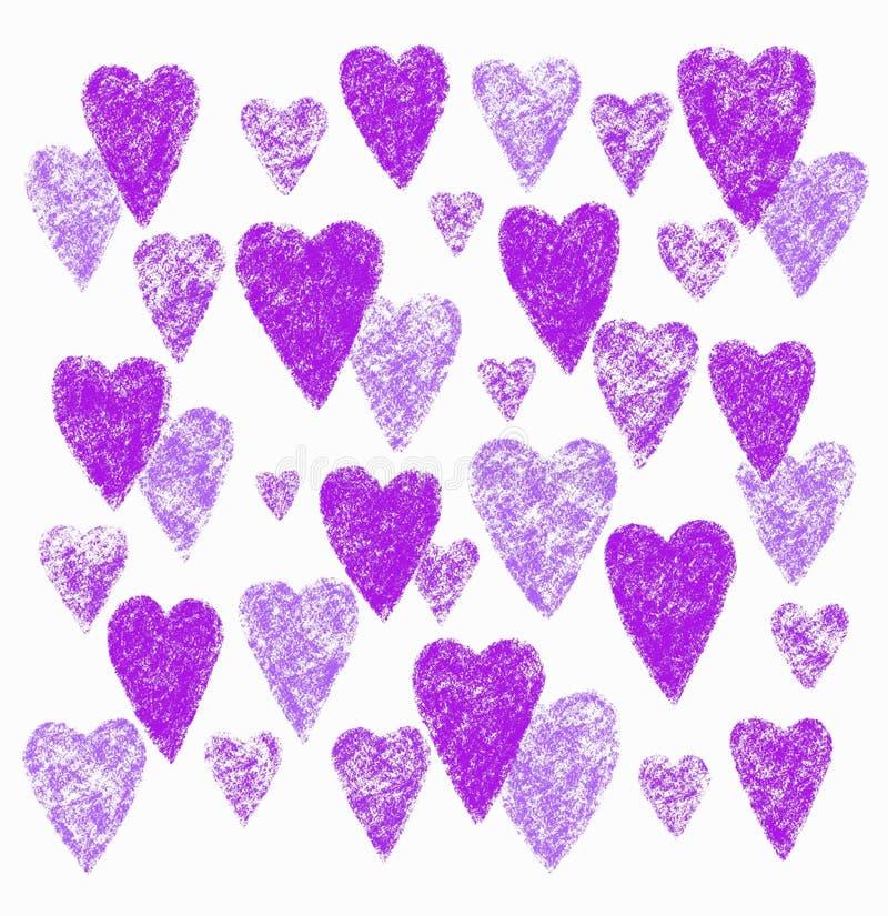 Coeurs décoratifs lilas sur le fond blanc illustration de vecteur