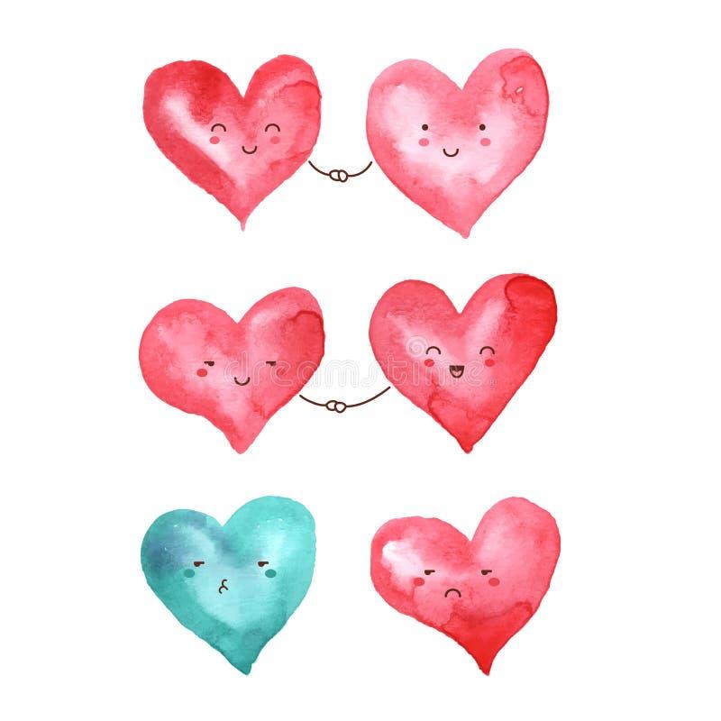 Coeurs d'aquarelle pour la conception de Saint-Valentin illustration libre de droits