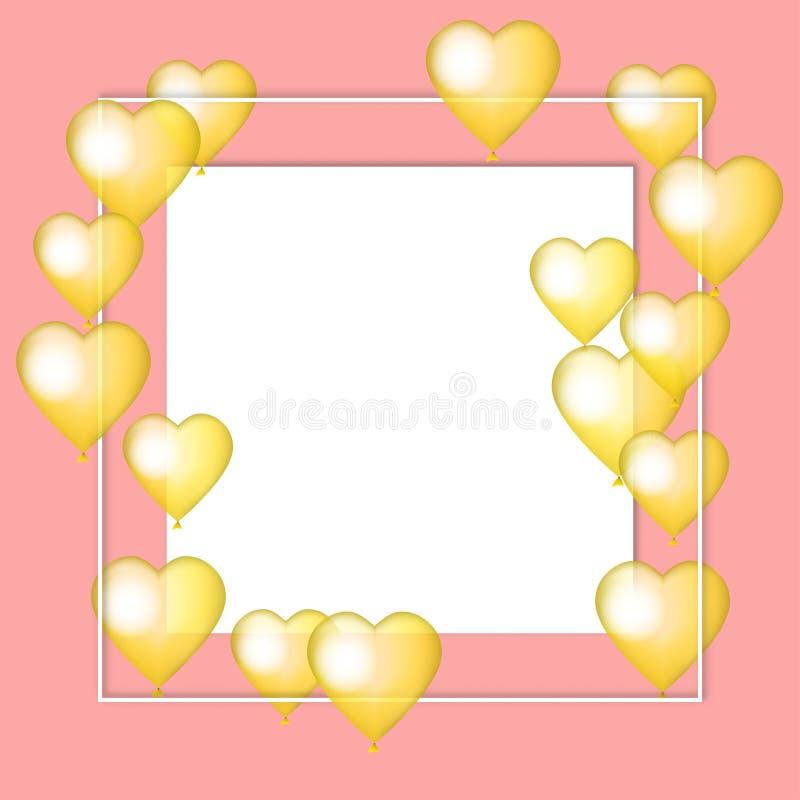 Coeurs d'or de ballon sur le fond rose Collage de coeurs de carte de vecteur de Valentine Mariage, anniversaire, anniversaire, jo illustration stock