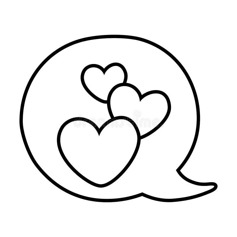Coeurs dans la bulle de la parole noire et blanche illustration de vecteur
