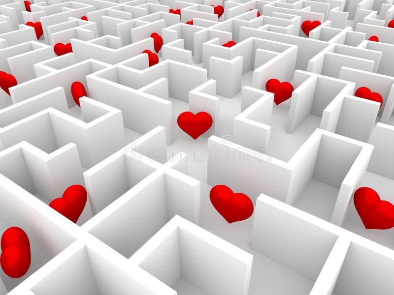 Coeurs dans le labyrinthe illustration stock
