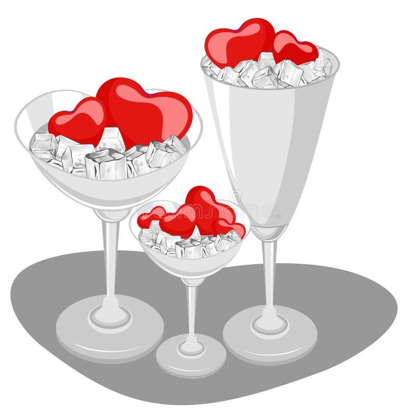Coeurs dans une glace de vin avec le glaçon. illustration libre de droits