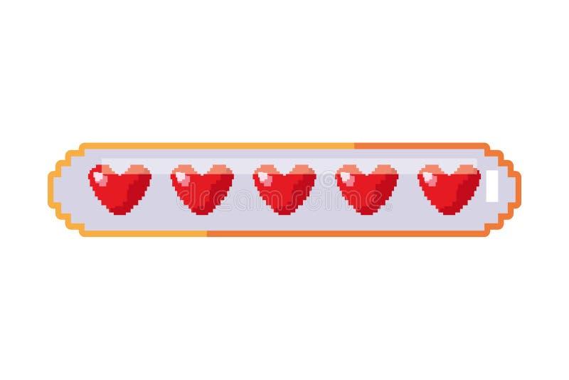 Coeurs de barre de santé de jeu vidéo de pixel illustration stock