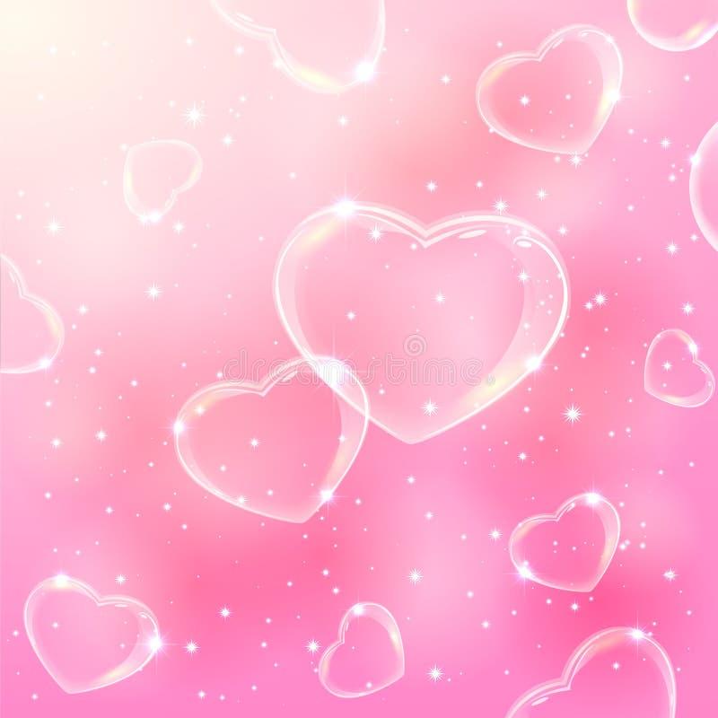 Coeurs de bulle sur le fond rose illustration de vecteur