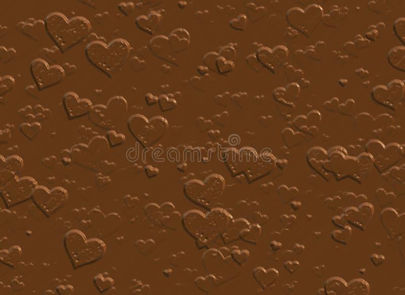 Coeurs de chocolat au lait humide Fond doux illustration stock