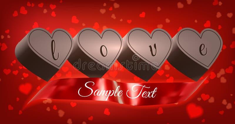 Coeurs de chocolat avec le ruban image stock