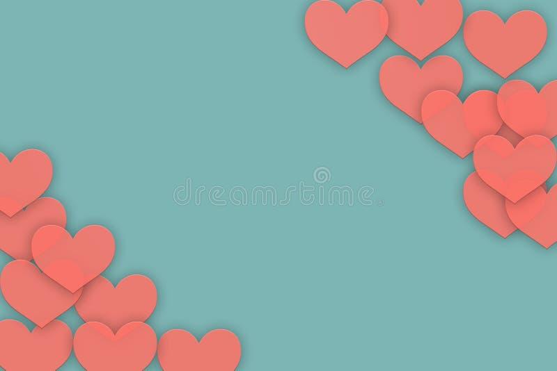 Coeurs de corail vivants sur le fond bleu illustration stock