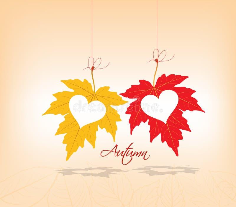 Coeurs de couples de fond de feuilles d'automne illustration libre de droits