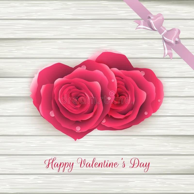 Coeurs de couples des roses rouges sur le bois ENV 10 illustration de vecteur