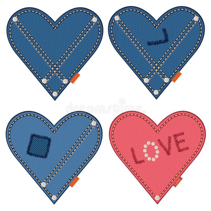 Coeurs de denim illustration de vecteur
