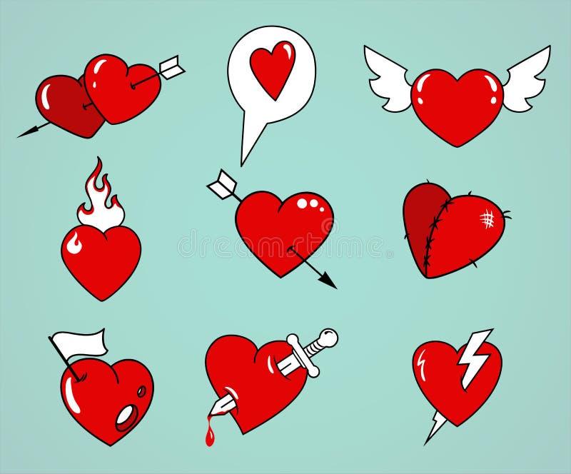 Coeurs de dessin animé réglés illustration de vecteur