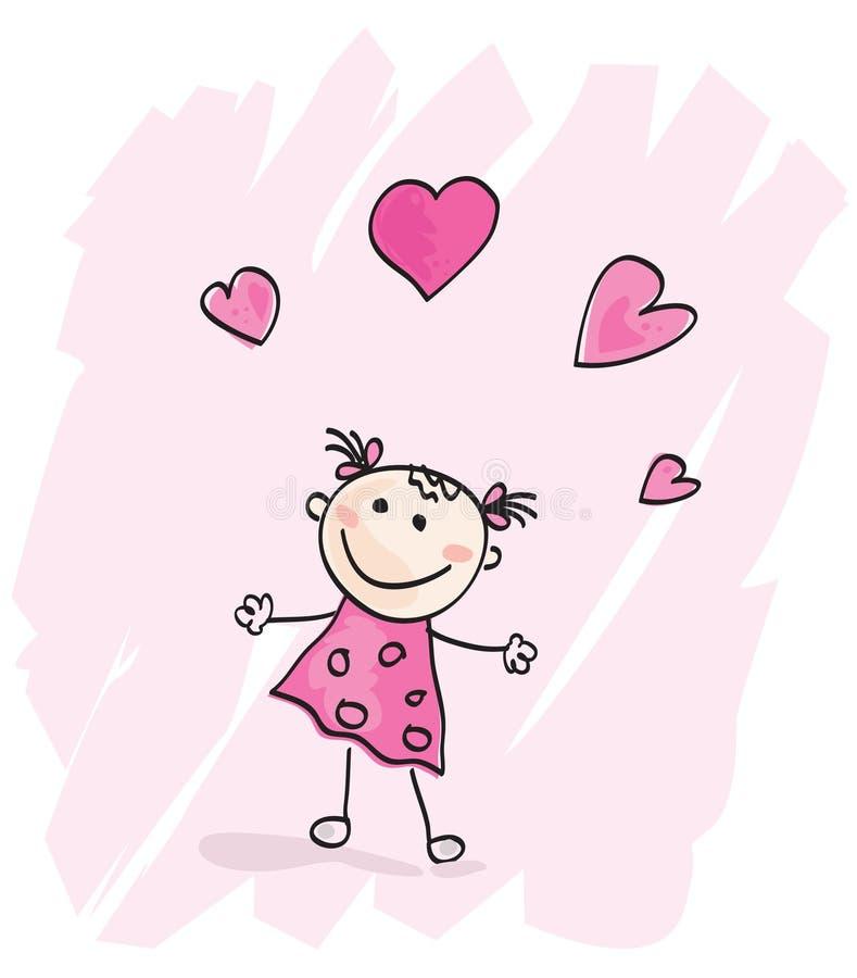 coeurs de fille petits illustration libre de droits