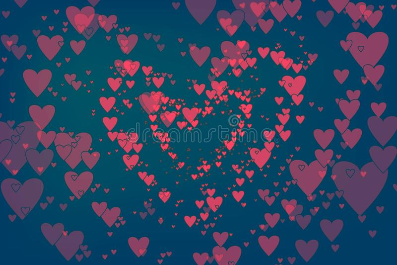 Coeurs de flottement en tant que fond à la mode pour des cartes de voeux de jour de valentines, insecte Conception plate des coeu images libres de droits