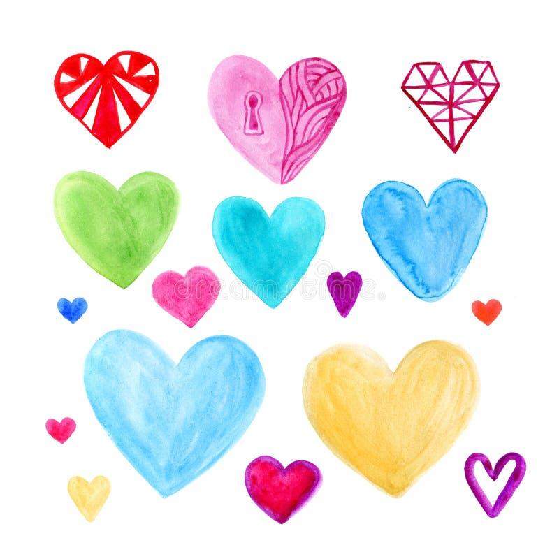 Coeurs de jour de valentines d'aquarelle réglés Éléments mignons pour la carte de voeux D'isolement sur le fond blanc illustration libre de droits