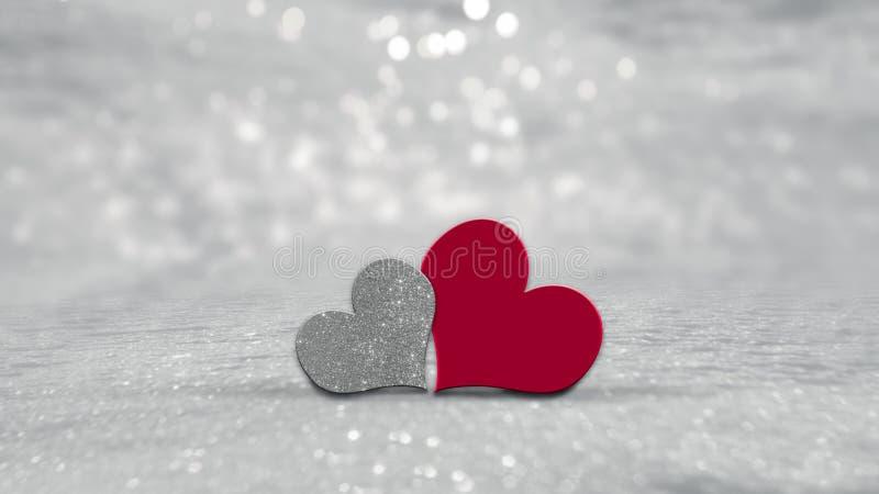 Coeurs de jour de valentines sur le fond argenté illustration stock