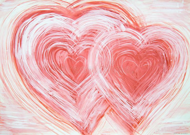 Coeurs de l'abstraction deux peints avec les couleurs rouges blanches illustration de vecteur