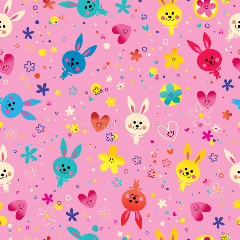 Coeurs de lapins et modèle sans couture de fleurs illustration stock