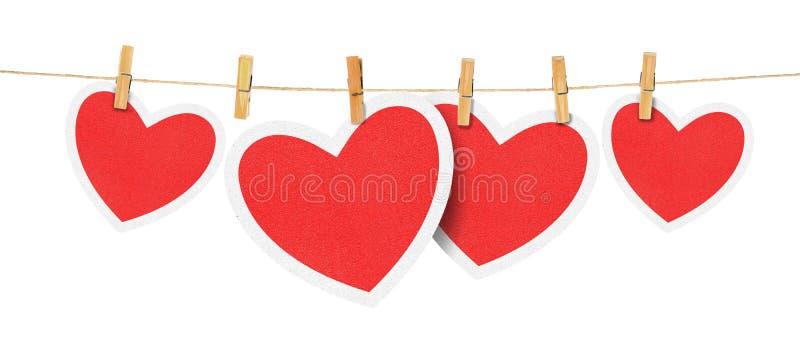 Coeurs de papier sur la corde photos libres de droits