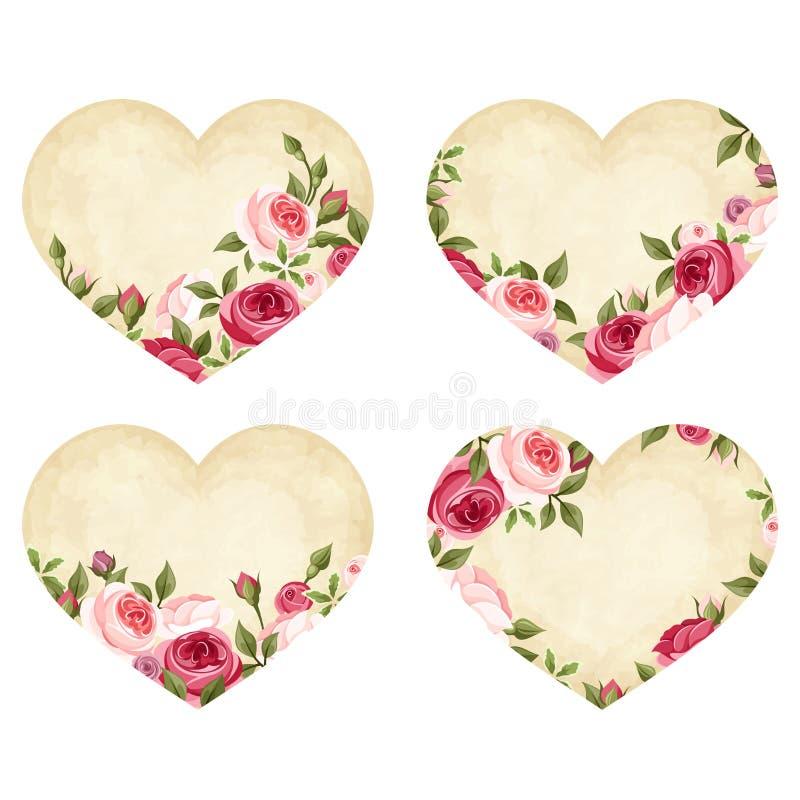Coeurs de parchemin de Saint-Valentin avec des roses Vecteur EPS-10 illustration stock