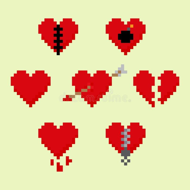 Coeurs de pixel illustration libre de droits