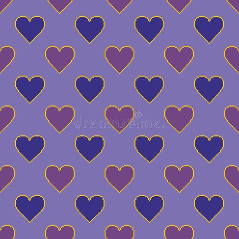 Coeurs de pixel Dirigez la configuration sans joint illustration de vecteur