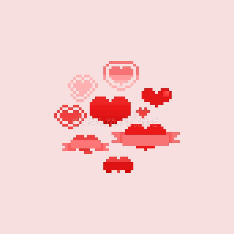 Coeurs de pixel r?gl?s Jour du `s de Valentine 8bit illustration libre de droits