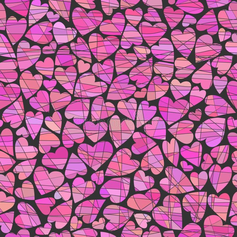 Coeurs de rose de kollazha de vide du fone v de chernom de Na de serdtsa de Rozovyye sur un fond noir sous forme de collage illustration stock
