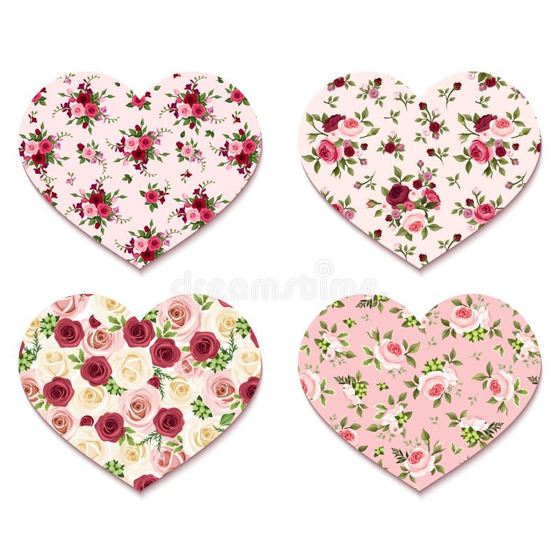 Coeurs de Saint-Valentin avec des modèles de roses Vecteur EPS-10 illustration libre de droits