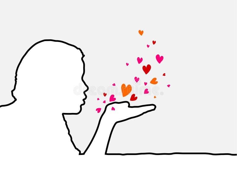 Coeurs de soufflement illustration stock
