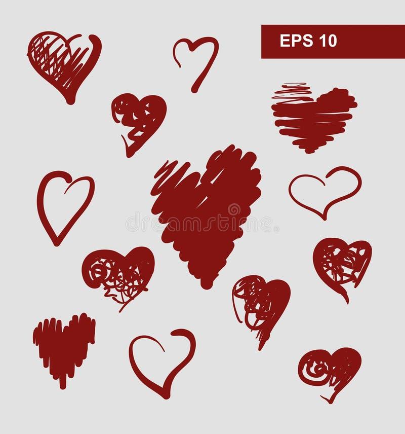 Coeurs de vecteur réglés illustration de vecteur