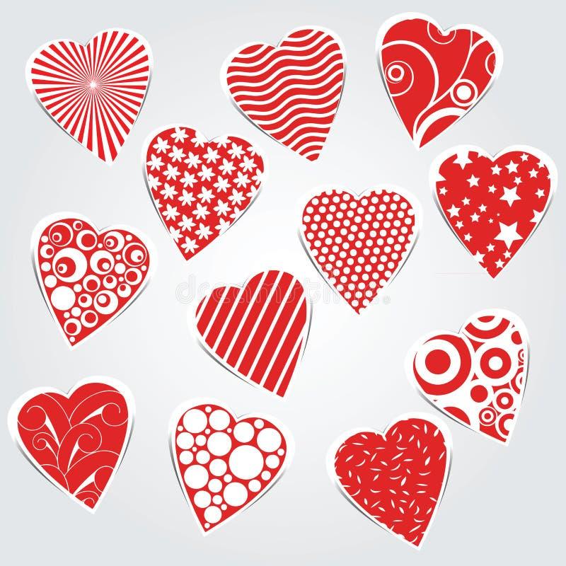 Coeurs de vecteur réglés - autocollants illustration stock