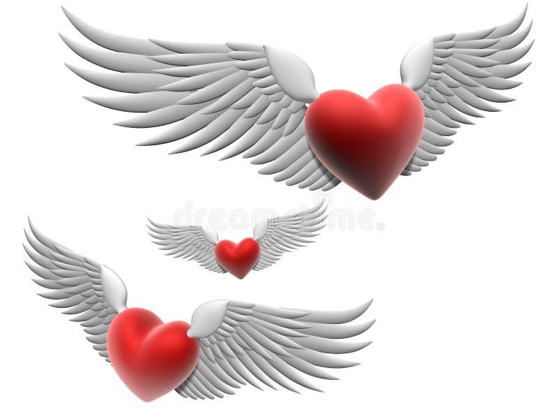 Coeurs de vol illustration de vecteur